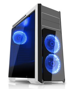 Flash Mid Tower White Blue With 3x12cm 33 Blue LED Fans Glass Side Top Front