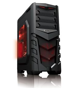 CiT Vanquish Gaming Case USB3 Toolless Side Window 2 x 12cm Red LED Fans