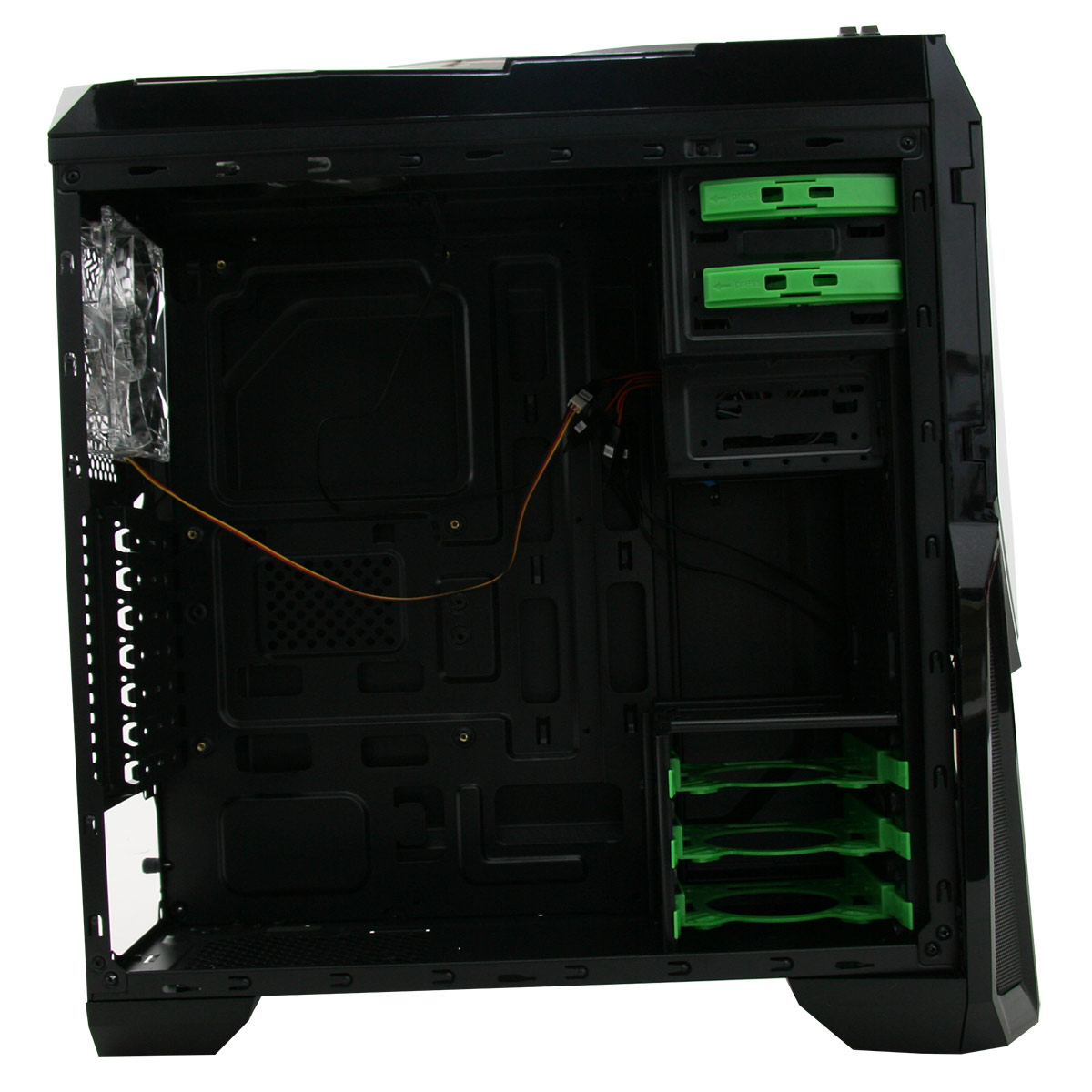 Game Max Destroyer Gaming Pc Case Green Led Windowed