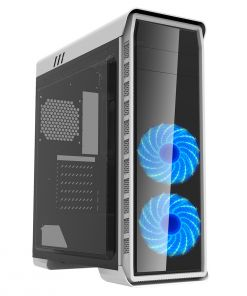 Game Max White Elysium Gaming PC Case With Blue LED Fans Windowed PC Case