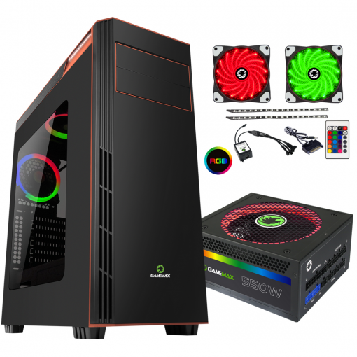 Bundle Deal - Game Max Gamboge RGB Case + 550w RGB PSU + RGB LED Strips Kit