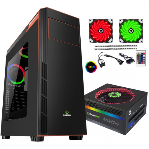 Bundle Deal - Game Max Gamboge RGB Case + 850w RGB PSU + RGB LED Strips Kit
