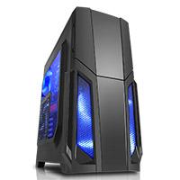 CiT  Storm Black ATX Case 1 x 12cm Blue LED Front Fan