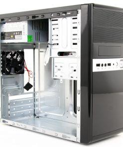 CiT 1016 Gloss Black/Silver Micro ATX PC Case 500W PSU