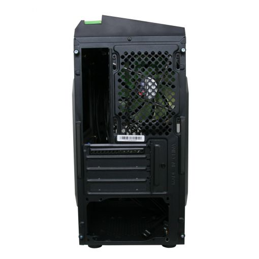 CiT F3 Black Micro-ATX Case With 12cm Green LED Fan & Green Stripe