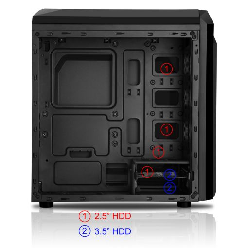 CiT F3 Black Micro-ATX Case With 12cm Red LED Fan & Red Stripe