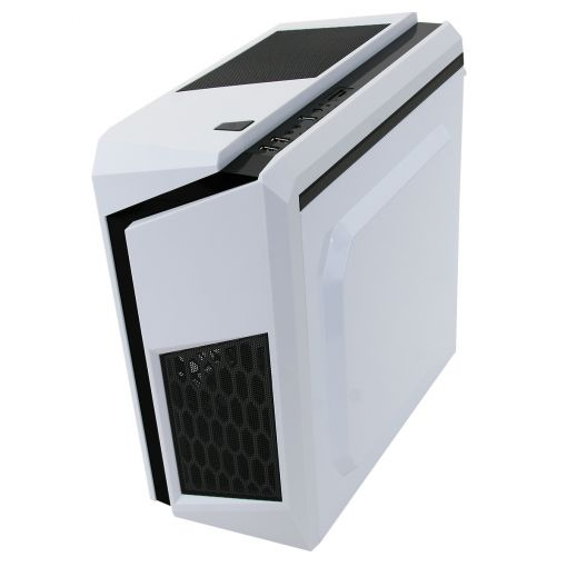 CiT F3 White Micro-ATX Case With 12cm Blue LED Fan & Black Stripe