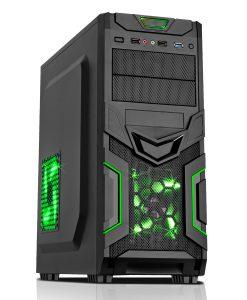 Goblin Mesh Gaming Case Black/Green Interior USB3 12cm Green LED Toolless