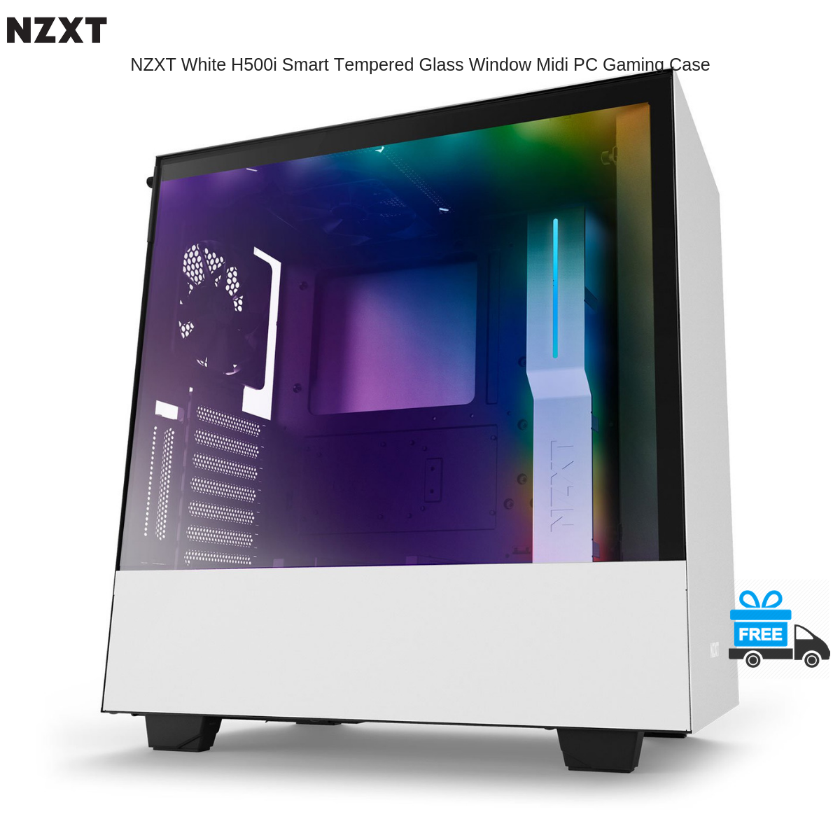 NZXT White H500i Smart Tempered Glass Window Midi PC Gaming Case