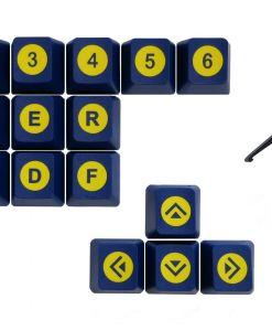 Tai-Hao Novelty Keycaps ABS Double Shot Poker 18 Key Set Blue/Yellow