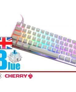 Vortex Poker 3 Mechanical Keyboard White Case Cherry MX Blue  UK Layout