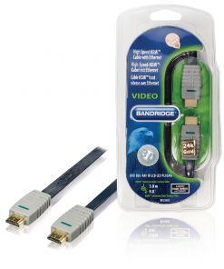 Bandridge HighSpeed HDMI 24K Gold With Ethernet 3M Flat