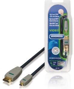 Bandridge High Speed HDMI Mini to HDMI 24K Gold With Ethernet 3M