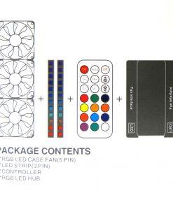 RGB Modding Kit 3x12cm Fans/2xLED Strips/1xRemote Control